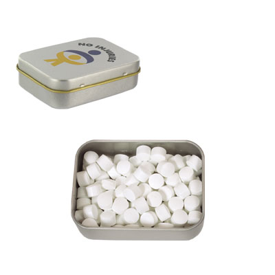 LL322s Promotional Confectionery Peppermints in Silver Rectangular Tins