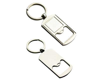 K27  Oblong Metal Promotional Keyrings Opener - Engraved