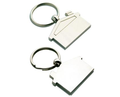 K25 House Shape Promotional  Metal Keyrings - Engraved