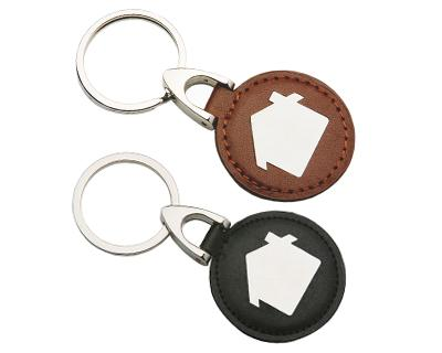 K50 Leather/Metal Promotional House Keyrings - Engraved