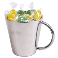 LL55066s Promotional Confectionery Assorted Corporate Colour Fiesta Fruits in Stainless Steel Mugs