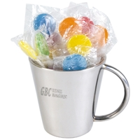 LL8504s Promotional Confectionery Lollipops in Stainless Steel Mugs