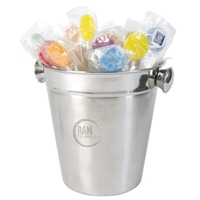 LL8604s Promotional Confectionery Lollipops in Stainless Steel Ice Buckets