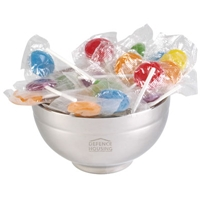 LL8404s Promotional Confectionery Lollipops in Stainless Steel Bowls