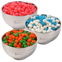 LL4860s Promotional Confectionery Corporate Colour Jelly Beans in Stainless Steel Bowls