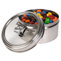 LL33003s Promotional Confectionery M&Ms in 6cm Stainless Steel Canisters
