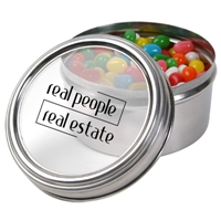 LL4843s Promotional Confectionery Assorted Jelly Beans in 6cm Stainless Steel Canisters