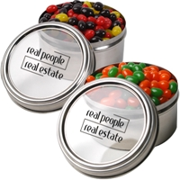 LL4863s Promotional Confectionery Corporate Colour Jelly Beans in 6cm Stainless Steel Canisters