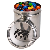 LL33005s Promotional Confectionery M&Ms in 12cm Stainless Steel Canisters