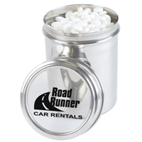 LL339s Promotional Confectionery Dynamints in 12cm Stainless Steel Canisters