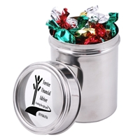 LL425s Promotional Confectionery Toffees in 12cm Stainless Steel Canisters