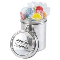 LL558s Promotional Confectionery Lollipops in 12cm Stainless Steel Canisters