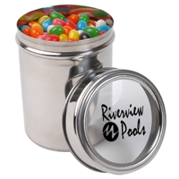 LL4842s Promotional Confectionery Assorted Jelly Beans in 12cm Stainless Steel Canisters