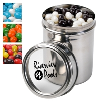 LL4862s Promotional Confectionery Corporate Jelly Beans in 12cm Stainless Steel Canisters