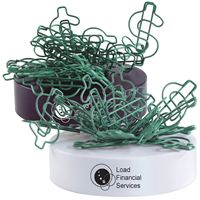 LL2562s Green Dollar Sign Shaped Paper Clips on magnetic base