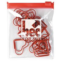 LL2541s Red Heart Paperclips In PVC Zipper Pouch