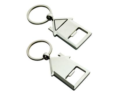 K26 House Shape Promotional  Metal Keyrings Opener - Engraved