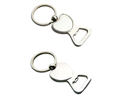 K29 Heart Shape Metal Promotional Keyrings Opener - Engraved